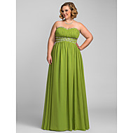 Formal Evening / Prom / Military Ball Dress - Clover Plus Sizes / Petite A-line Strapless / Sweetheart Floor-length Chiffon