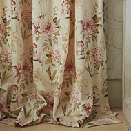 (Two Panels) Michelle Luxury® Country Pink Petals Print Eco friendly Curtain