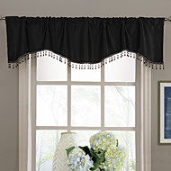 Modern Black Solid Scalloped Tassel Valance