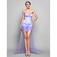Formal Evening Dress - Lavender Plus Sizes Sheath/Column Spaghetti Straps Asymmetrical Tulle