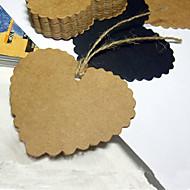 Hjerte bokmerke / tag med rufsete kanter - sett med 50 (flere farger)