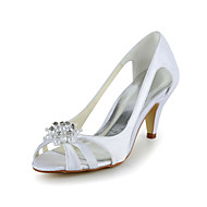 Satin Stiletto Heel Pumps Sandals with Rhinestone Wedding Shoes(More Colors)