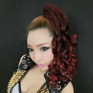 Carino ricci coda di cavallo capelli Wig Extension (Red Wine)