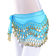 Belly Dance Belt Women's Training Chiffon Coins Blue / Orange / Purple / Yellow Belly Dance / Ballroom Spring, Fall, Winter, Summer