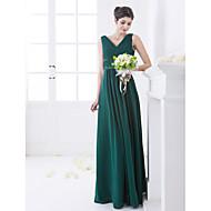Bridesmaid Dress Floor Length Chiffon And Stretch Satin A Line V Neck Dress (663668)