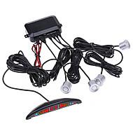 Car LED Display Reverse Backup Radar with 4 Sensors (Black,Silver)