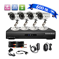Ultra Low Price 4CH CCTV DVR Kit (4 Outdoor Waterproof 600TVL Color Cameras)