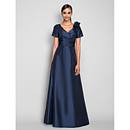 TS Couture® Prom / Formal Evening / Military Ball Dress - Elegant Plus Size / Petite A-line V-neck Floor-length Taffeta withFlower(s) / Side Draping