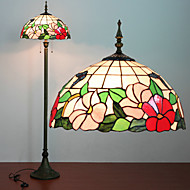 Bloemen Patroon Floor Lamp, 2 Licht, Tiffany Glas Resin Verfproces