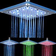 Chrome Finish Rectangular 3 Colors LED Shower Head