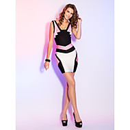 TS Couture® Cocktail Party / Holiday Dress - Multi-color Petite Sheath/Column V-neck Short/Mini Rayon
