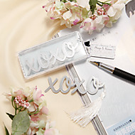 """""""Hugs & Kisses"""" Silver-Finish bokmerke med Elegant White-silke dusk"""