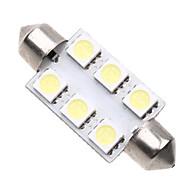 6 5050 SMD LED 39mm bil interiør dome Pinol White pære