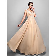 TS Couture Formal Evening Military Ball Dress - Open Back Sheath / Column V-neck Floor-length Chiffon withAppliques Crystal Detailing