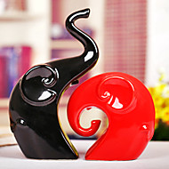 "9""Modern Style Elephant Type Ceramic Collectibles(2 PCS)"