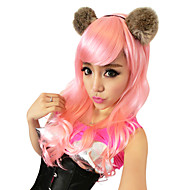 19.68 Inch 100% Kanekalon Charming Pink prinsessa Curly Christmas Festival Party Wig