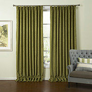 (Two Panels) European Green Solid Chenille Energy Saving Curtain