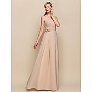 brudepige kjole gulv længde chiffon kappe kolonne ene skulder kjole (929954)