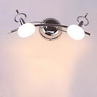 חדר רחצה מנורת קיר, 2 קל, מודרני נירוסטה לבנה כרום