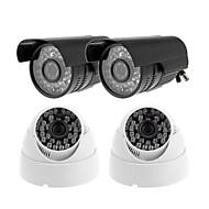 CCTV CMOS 540TVL IR 36IR LED de visión nocturna al aire libre cámara de la bala de 2PCS + Intdoor cámara domo 2 piezas