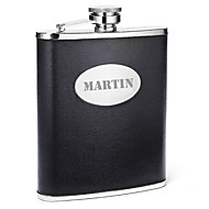 Personalized Father's Day Gift Black 8oz PU Leather Capital Letters Flask