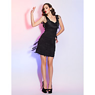 Cocktail Party / Homecoming / Holiday / Family Gathering Dress - Plus Size / Petite Sheath/Column Straps Short/Mini Chiffon / Satin