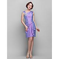 Sheath/Column Plus Sizes Mother of the Bride Dress - Lilac Knee-length Sleeveless Taffeta