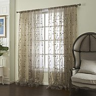 (Two Panels) Elegant Country Growing Flowers And Branches Embroidery Sheer Curtain