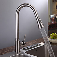Kitchen Faucet Contemporary Pullout Spray Brass Nickel Brushed