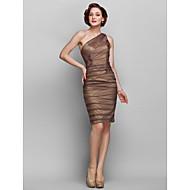 Sheath/Column Plus Sizes Mother of the Bride Dress - Brown Knee-length Sleeveless Chiffon