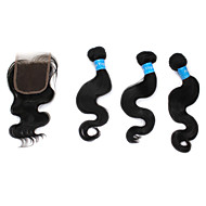 "12""+14""+16""+Lace Closure 10"" 6A Peruvian Virgin Body Wave Human Hair Weft Extensions"