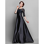 A-line Plus Sizes / Petite Mother of the Bride Dress - Black Sweep/Brush Train Half Sleeve Lace / Stretch Satin