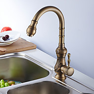 Antique Tall/­High Arc Deck Mounted Rotatable with  Ceramic Valve Single Handle One Hole for  Antique Brass , Kitchen faucet