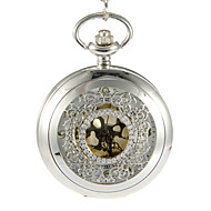 Unisex Hollow Cover Silver Alloy Quartz Analog Pocket Watch Cool Watches Unique Watches