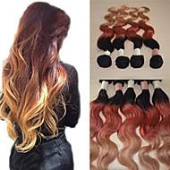 20inch μεγάλη 5α βραζιλιάνα παρθένα ανθρώπινα μαλλιά σώμα κύμα ombre επέκταση μαλλιά / ύφανση (1b/33 # / 27 #)