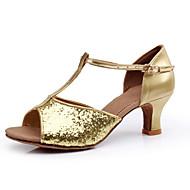 Non Customizable Women's Dance Shoes Latin/Ballroom Paillette Stiletto Heel Silver