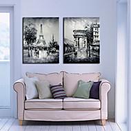 Sträckt Canvastryck konst Landskap Plats av Paris Set med 2