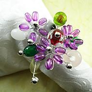Colorful mariage perle Rond de Serviette Set de 6, Pearl Dia 4.5cm