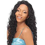 22inch Indian Remy Hair Voor Lace Wig Kinky Curl Off Black (# 1b) Pruik met lang