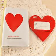 Etiqueta del equipaje del corazón y de la cubierta del pasaporte