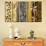 Stretched Canvas Print Art Botanical Pattern of Flower Set of 5