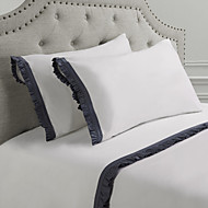 simples&conjunto de folhas opulence®, 4 peças 100% algodão 250tc com borda cinza amarrotado