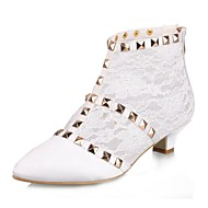Women's Spring / Summer / Fall Pointed Toe / Fashion Boots Satin / Lace Wedding Kitten Heel Ivory / White