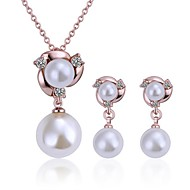 Women's 18K Rose Gold Double Pearl (Necklace&Earrings) Jewelry Sets