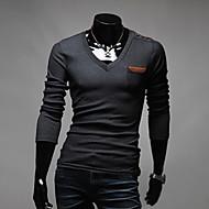 Herren T-shirt-Einfarbig Freizeit Baumwollmischung Lang-Schwarz / Weiß / Grau