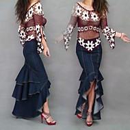 Women's Fashion Sexy Asymmetrical Mermaid Maxi Jeans Skirt