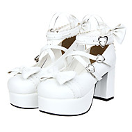 Back And Front Bowknot Heart Hasp White PU Sweet Lolita 8cm High-heeled Shoes