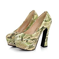 Faux Patent Leather Women's Fashion Snakeskin Platform High Heel Pumps  More Colors