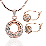 Women's 18K Rose Gold (Necklace&Earrings) Jewelry Sets