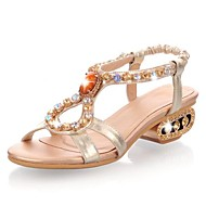 Sling Back Low Heel Leather Sandals with Rhinestone Women's Shoes(More Colors)